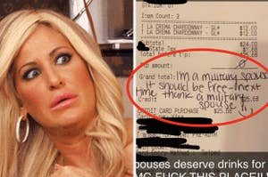 a receipt with a note from a military spouse who thinks she should've been able to eat for free