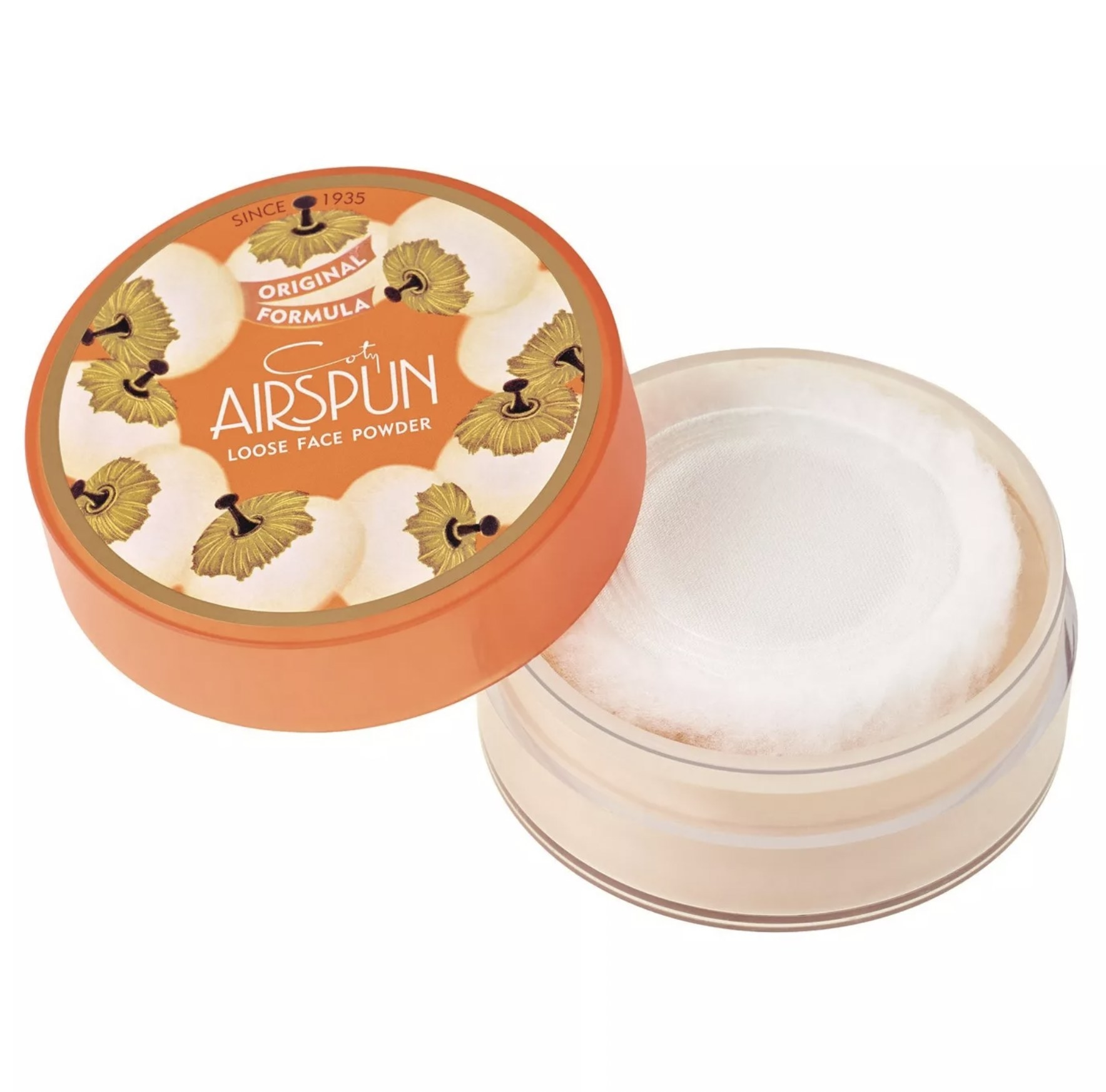 Opened airspun powder against white background