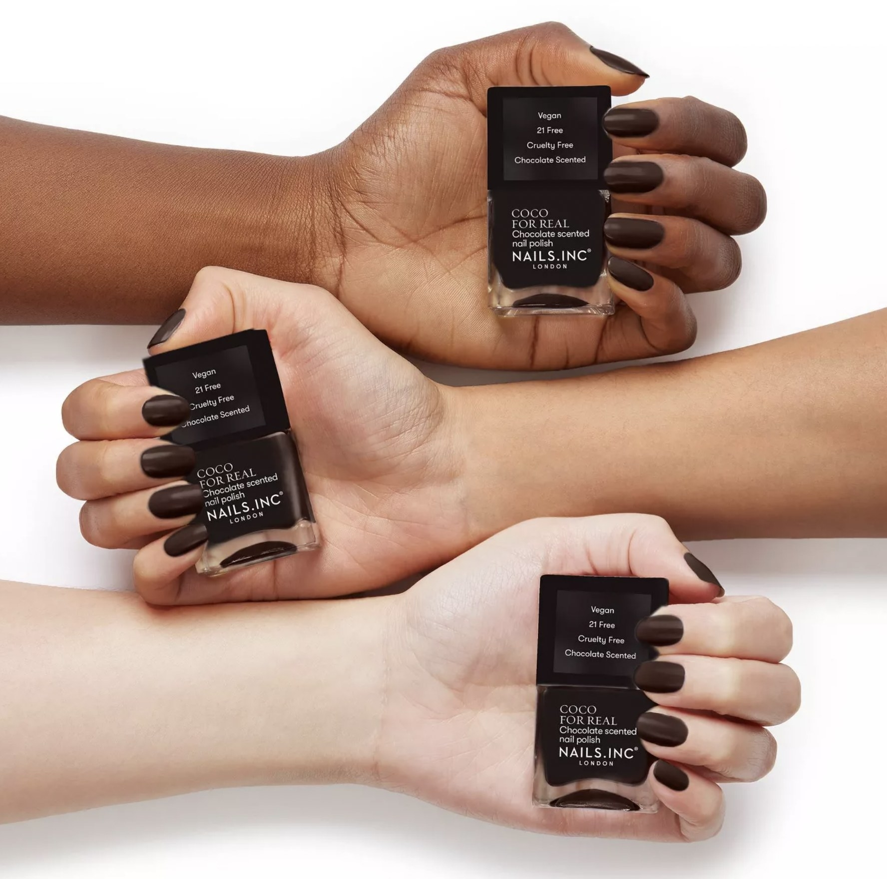 Three models hands holding Coco for real polish