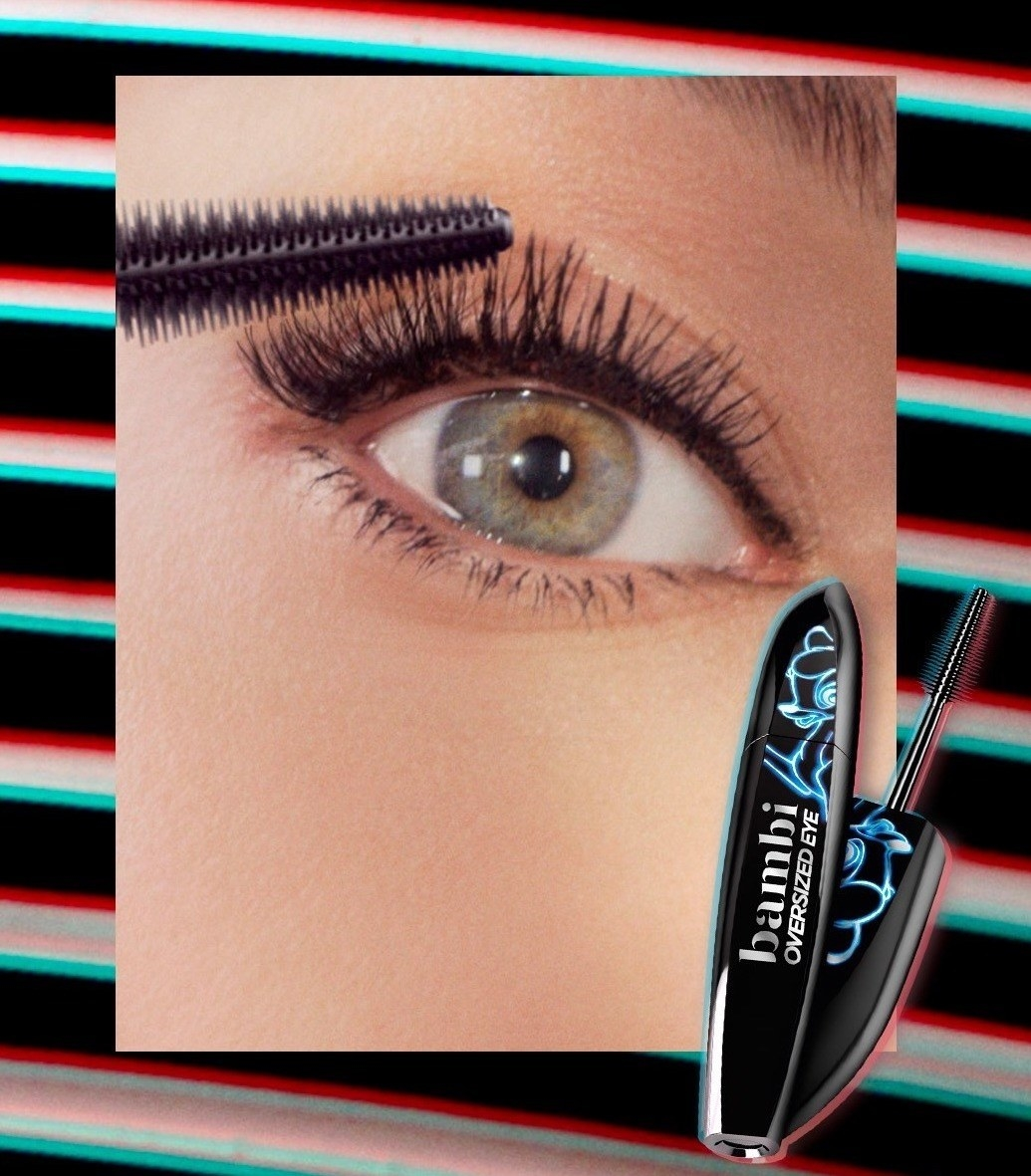 model's eye showing mascara on pictured next to tube