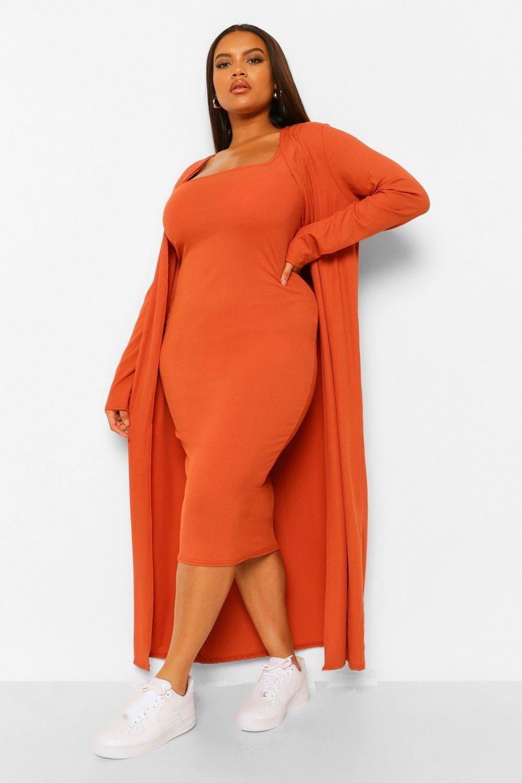 model wearing the orange set
