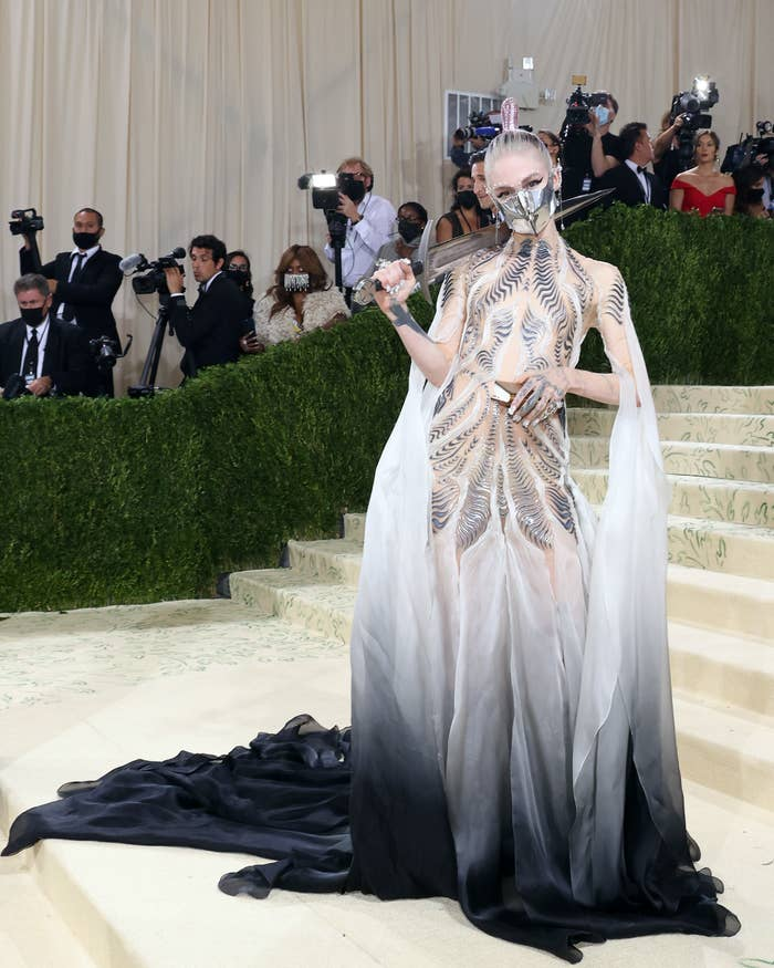 A full length look at Grimes outfit