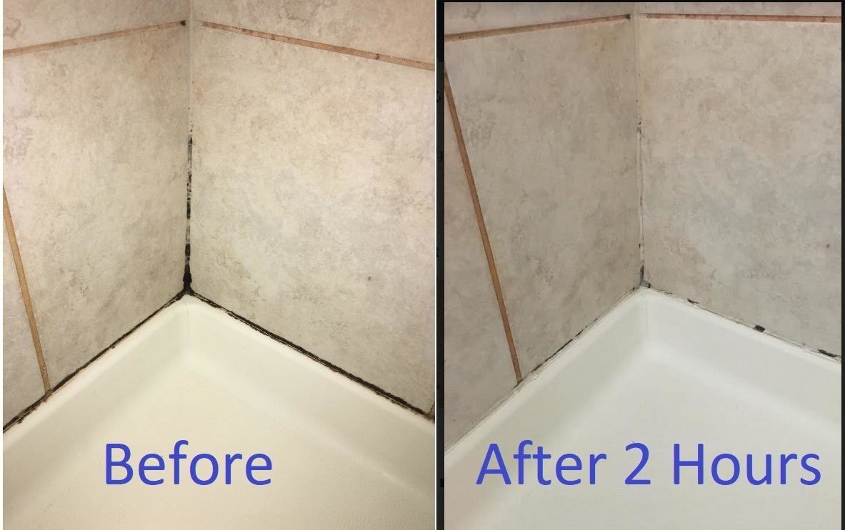 A reviewer's discolored shower grout before, and after two hours of the gel sitting, with most of the black discoloration disappearing