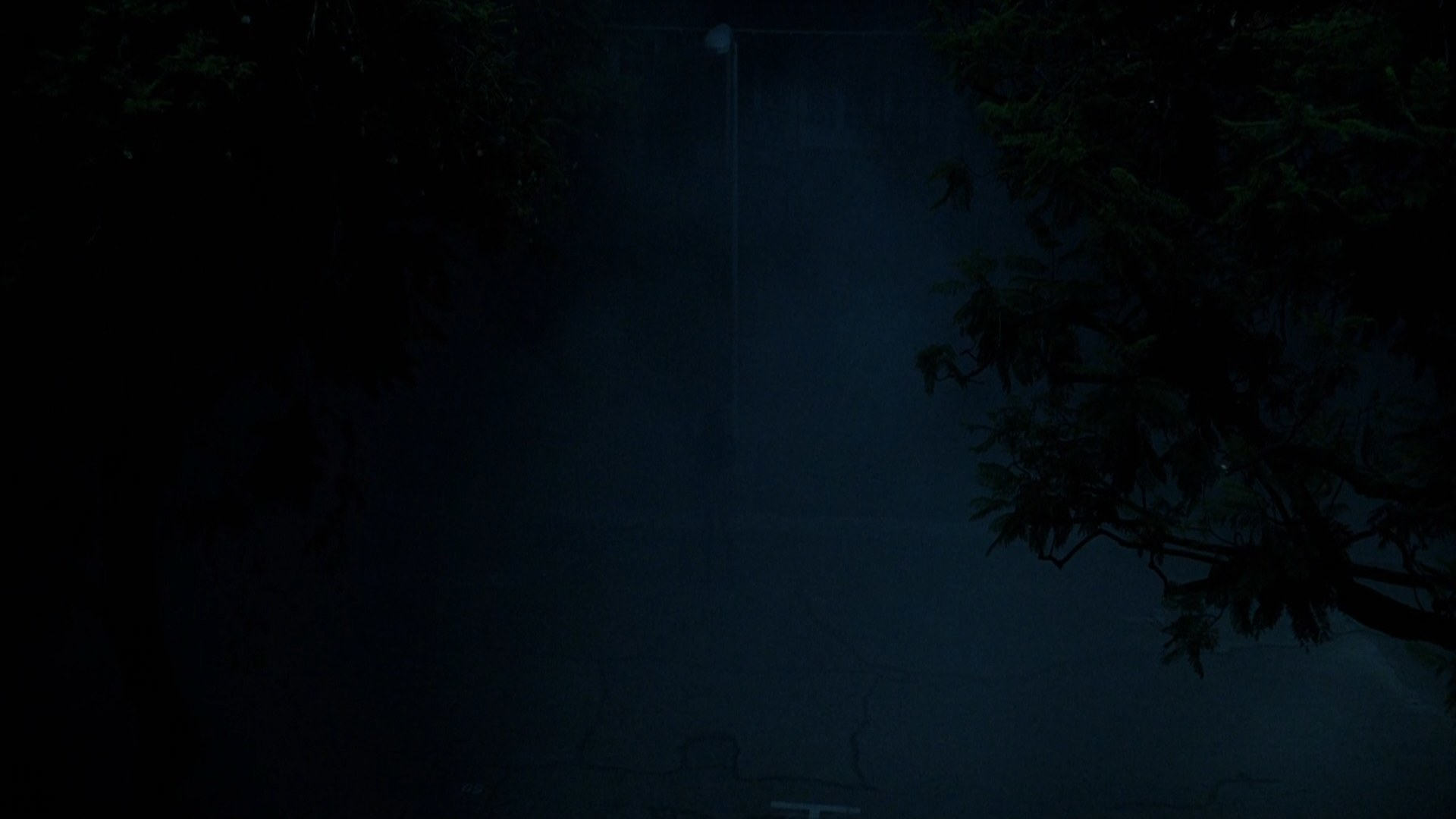 A humanoid figure stands on a dark fogy street.