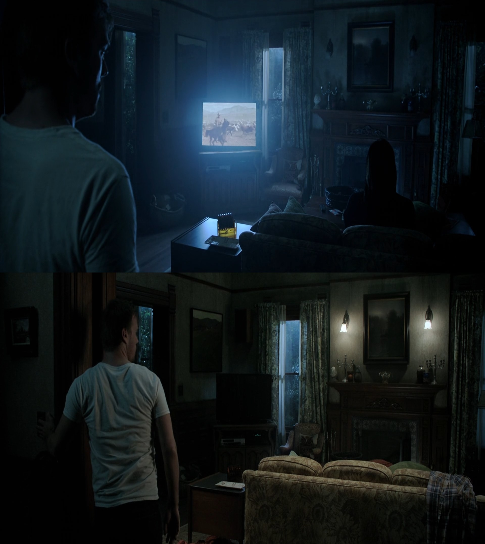 Someone watching TV in the first picture disappears in the second.