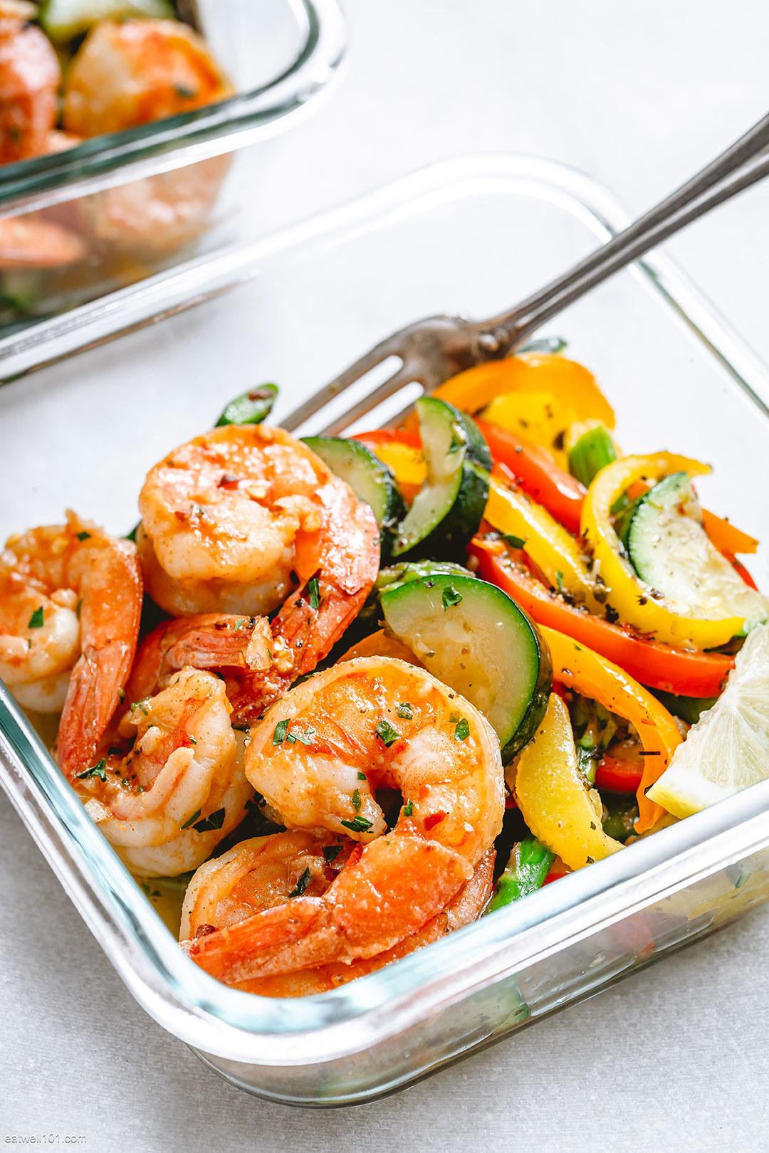 Cajun shrimp with vegetables meal prep.