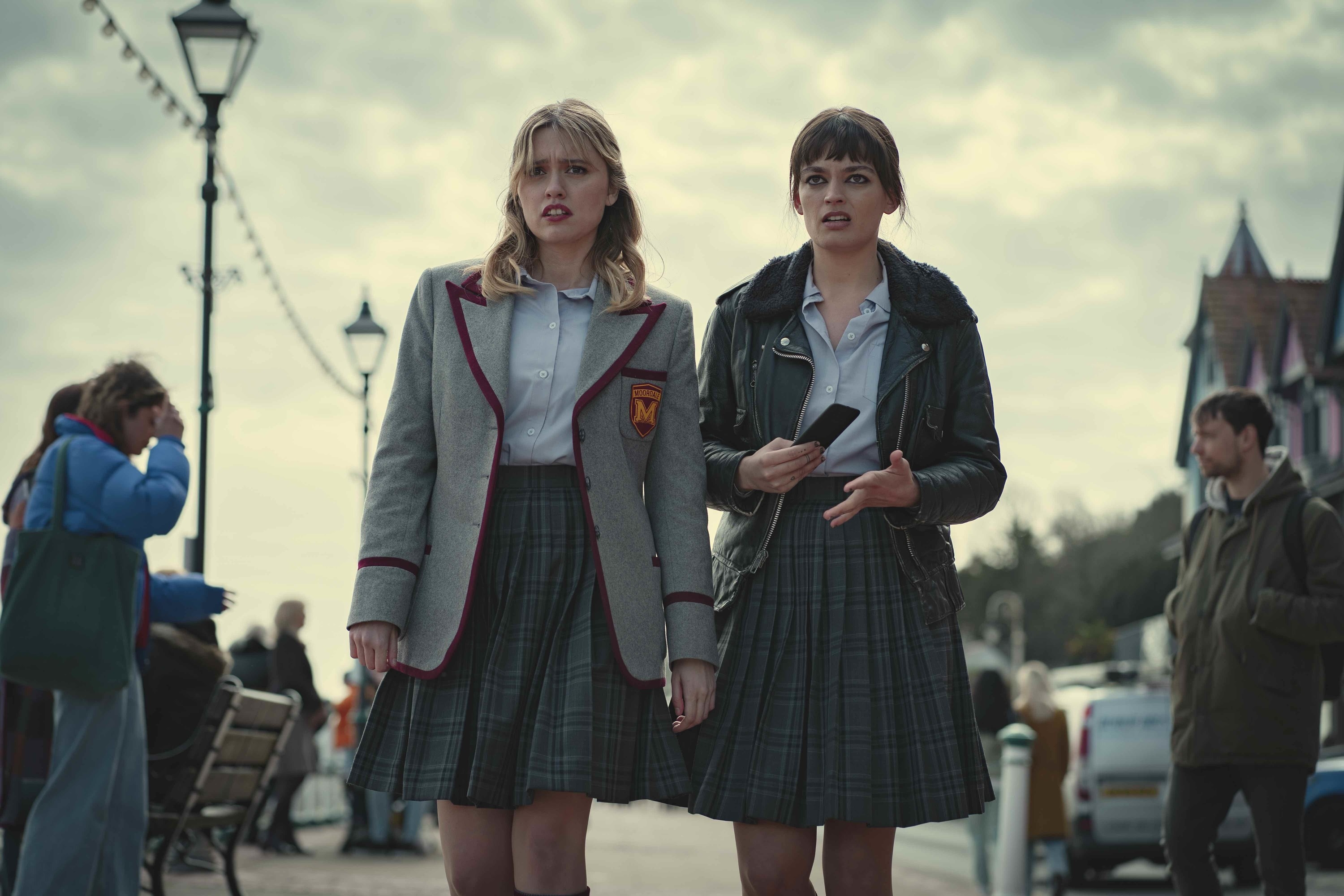 Maeve and Aimee in their Moordale uniforms