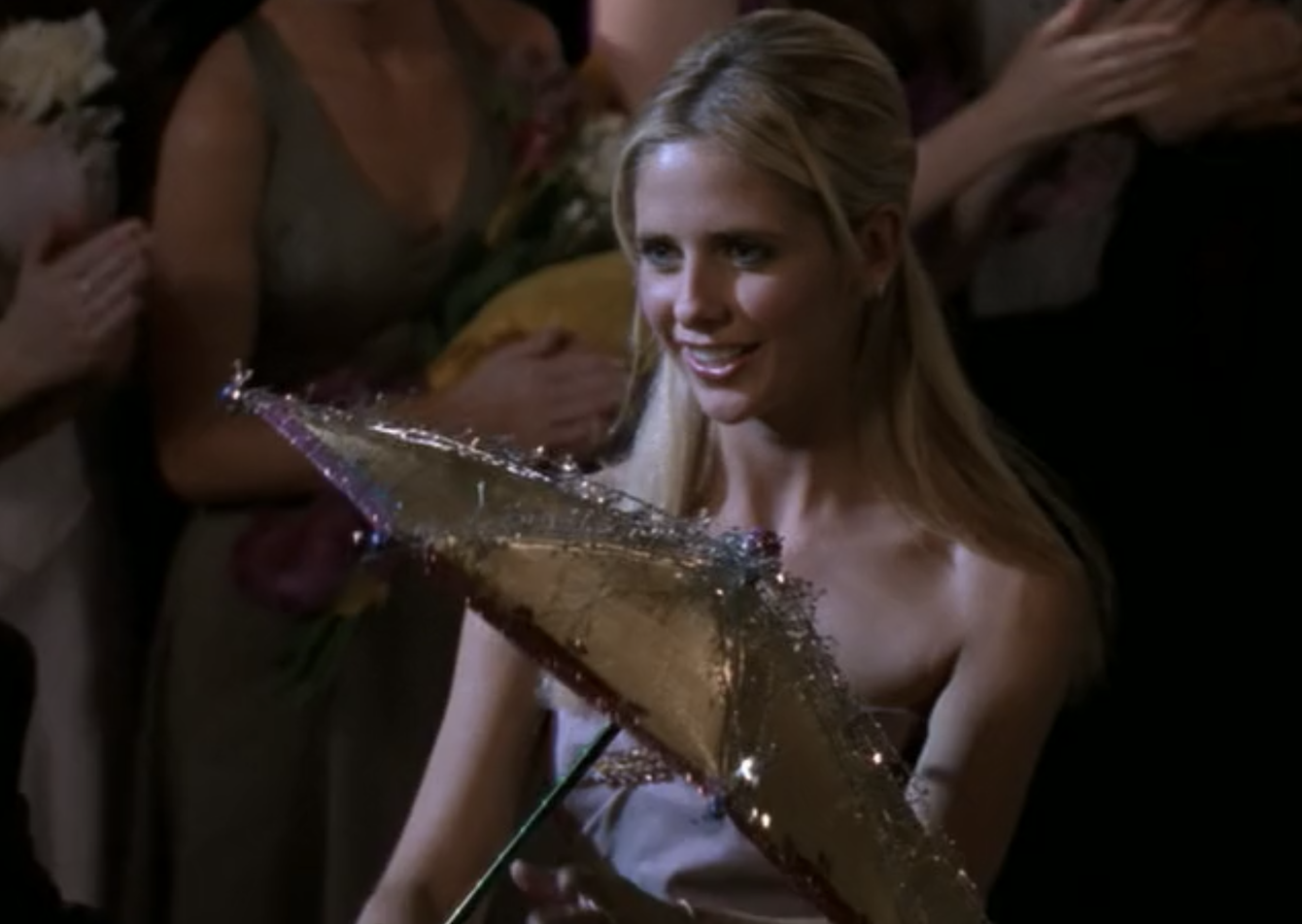 Buffy receives her parasol for Class Protector