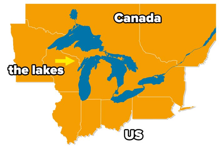 A map of the US–Canada border with the five Great Lakes