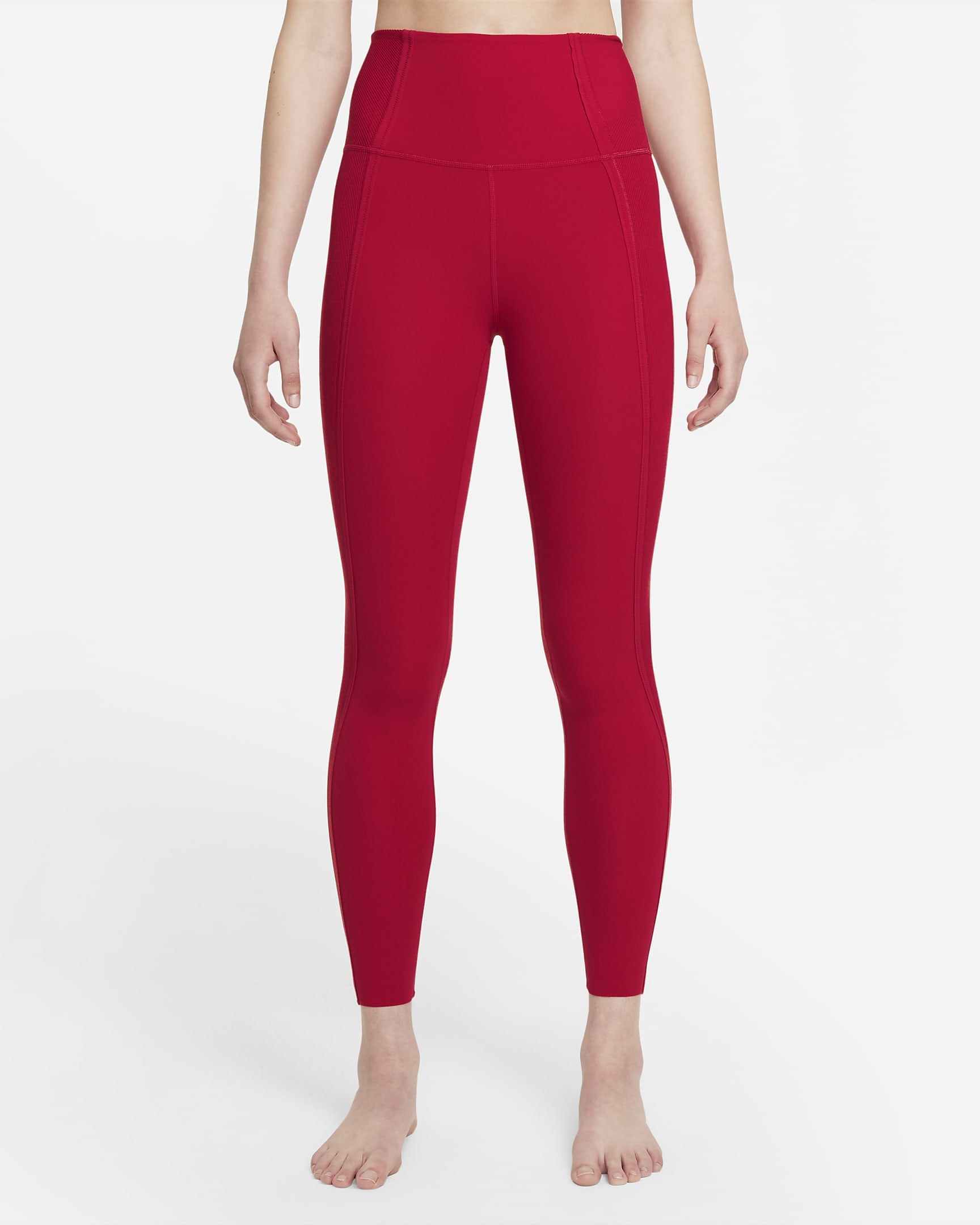 Model wearing high waisted red workout leggings