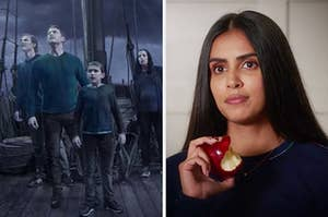 On the left, TJ, Ben, Cal, and Grace standing on a ship during a storm in a Calling on Manifest, and on the right, Saanvi from Manifest holding a half-eaten apple
