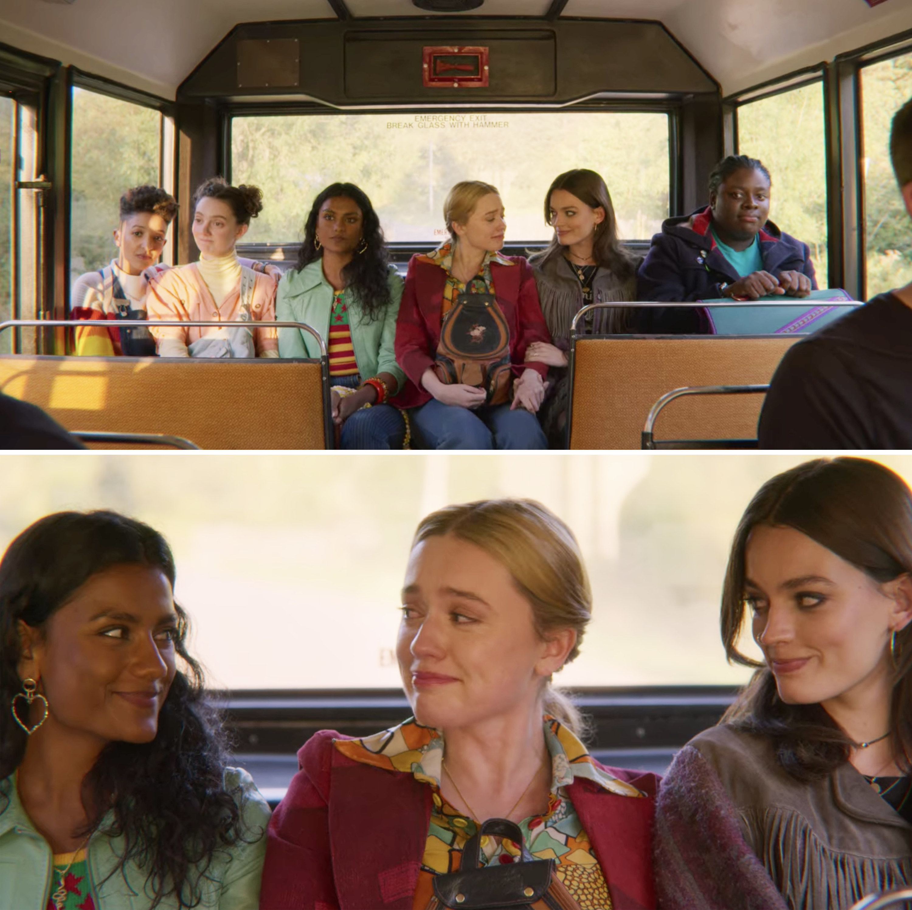 Maeve, Aimee, and the rest of her friends sitting in the back of a bus