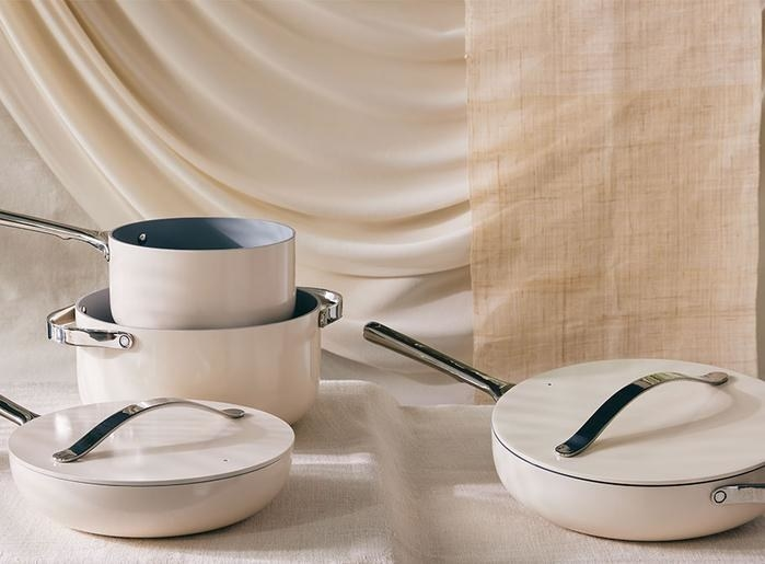 pan set in the cream color styled on a table