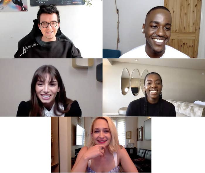 Screenshots of the smiling castmates