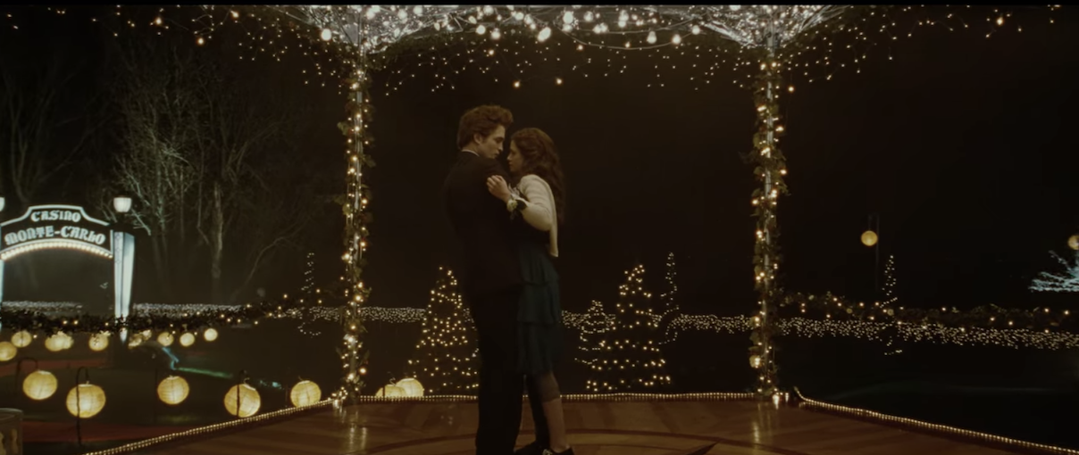 Edward and Bella dancing in the gazebo