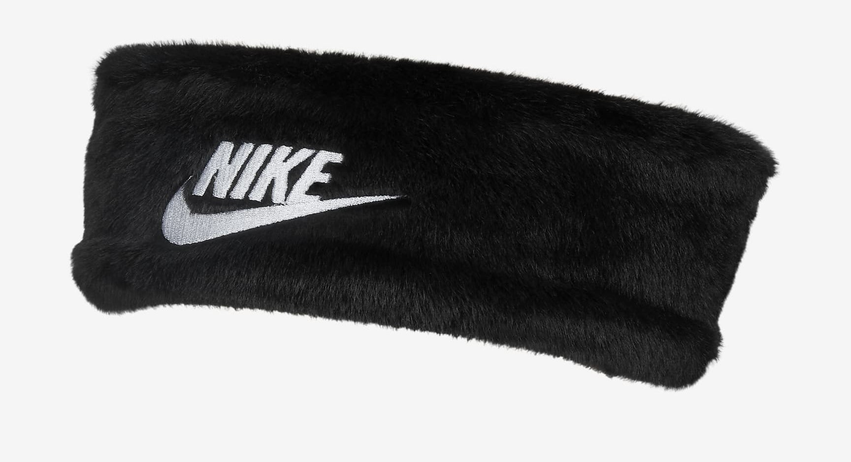 """Black faux fur headband with """"Nike"""" written in white and white Nike check"""