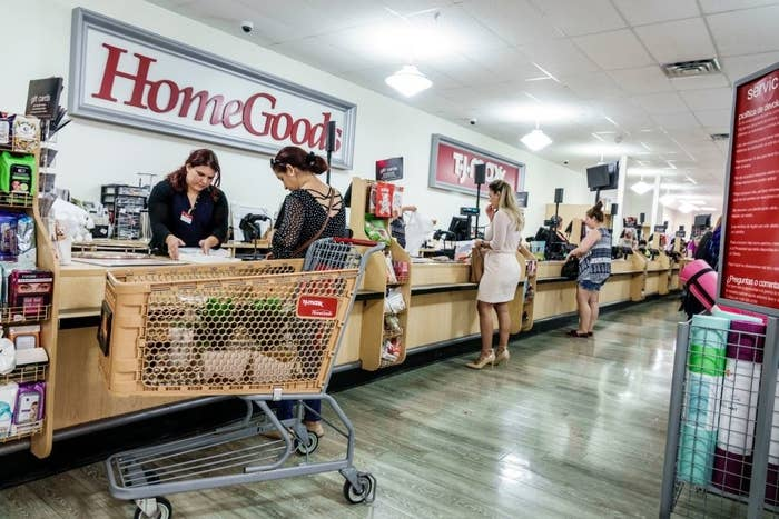 The checkout counter at a HomeGoods store