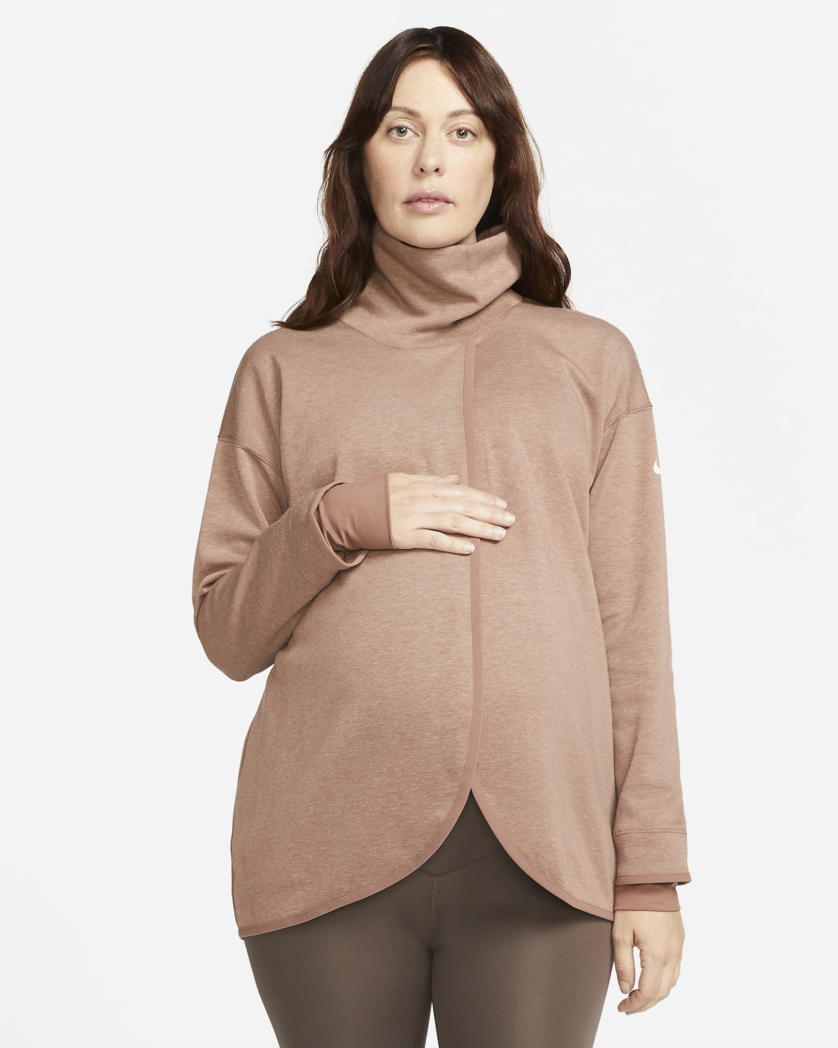 Model wearing brown crossover maternity pullover