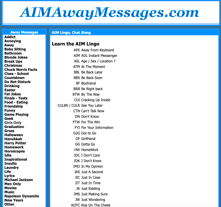 """A website called """"AIM Away Messages"""" with an index of AIM lingo, including ASL: """"Age / Sex / location?"""""""