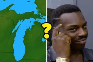A map of the great lakes next to someone thinking