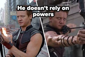 Clint Barton fiddles with the tips of his arrows and a close up of Clint Barton as he's about to shoot an arrow from his bow