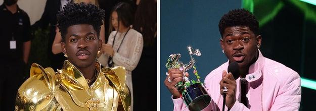 Lil Nas X at the 2021 Met Gala and Lil Nas X accepting an award at the 2021 VMAS
