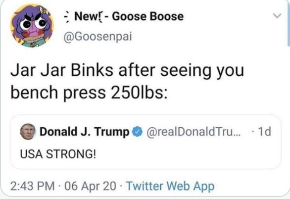 "Donald Trump: ""USA STRONG!"" Reply: ""Jar Jar Binks after seeing you bench press 250lbs:"""