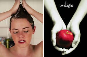 On the left, Emma Stone styling her hair into a mohawk in the shower as Olive in Easy A, and on the right, someone holding an apple in their hands on the Twilight book cover