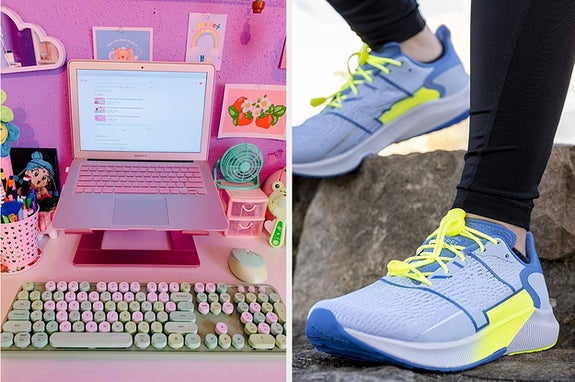 on left, typewriter-style pink and green keyboard next to pink laptop. on right, neon bungee cords on sneaker turned into slip-on sneaker