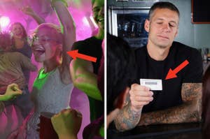 Young people dancing in a nightclub and a bartender checking ID