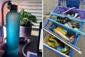 pretty water bottle and reusable shopping cart bags