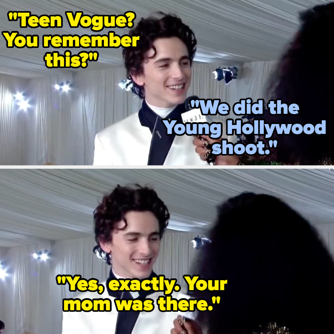 A smiling Timothée tells Keke that they met at the Teen Vigue Young Hollywood shoot and that her mom was there