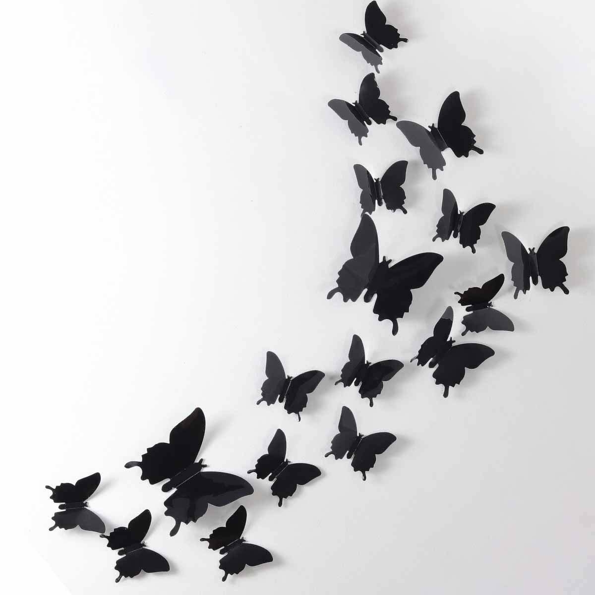 Photo of removable butterfly stickers on a white wall