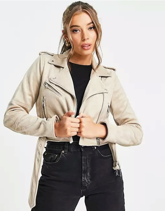 Model wearing the jacket with black jeans