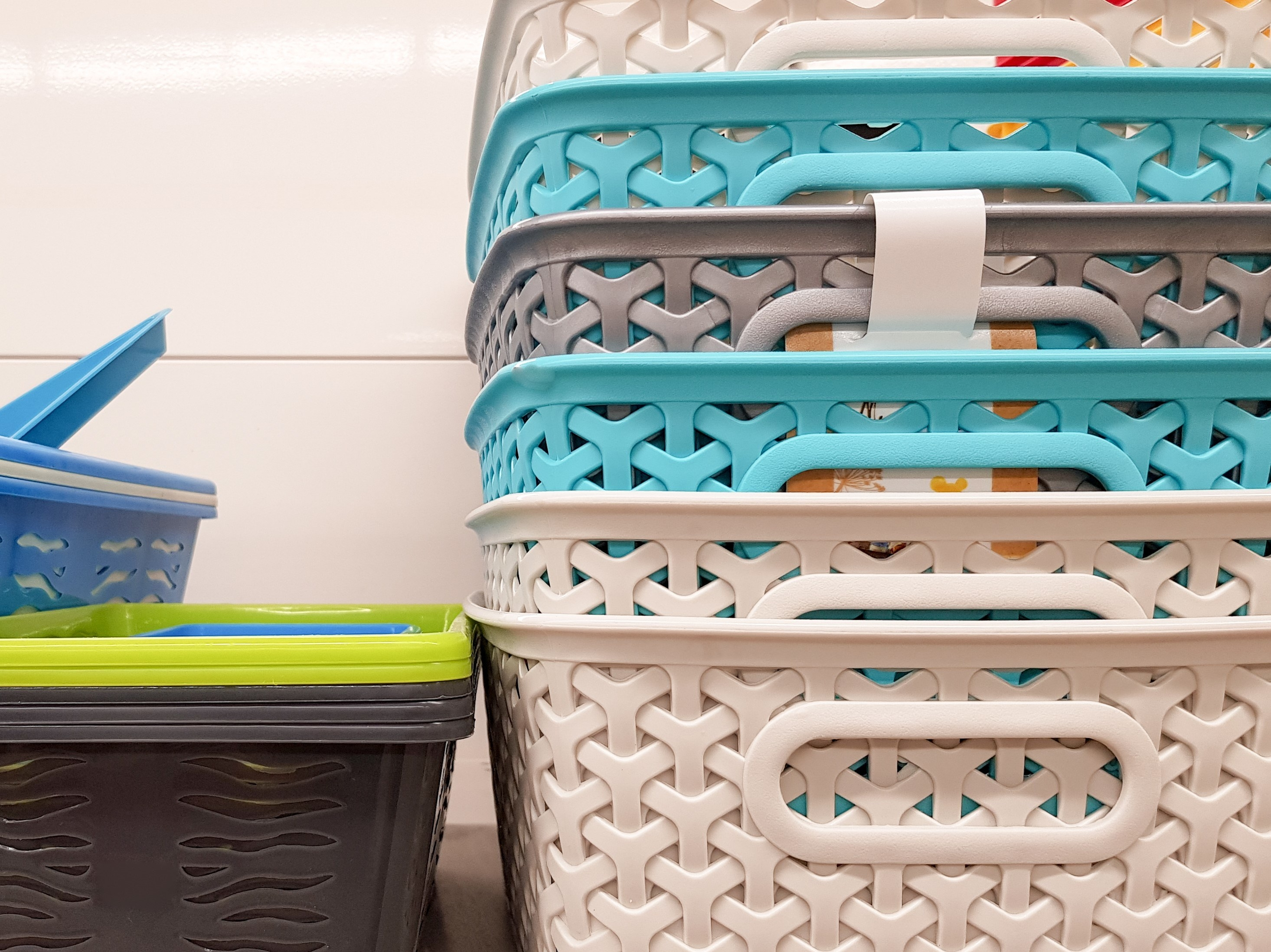 Photo of colorful stacking bins