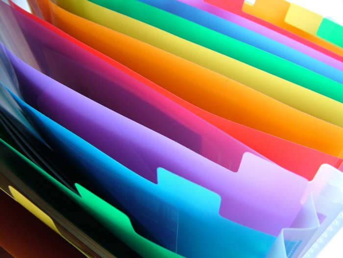 Close up photo of colorful vinyl organizational files