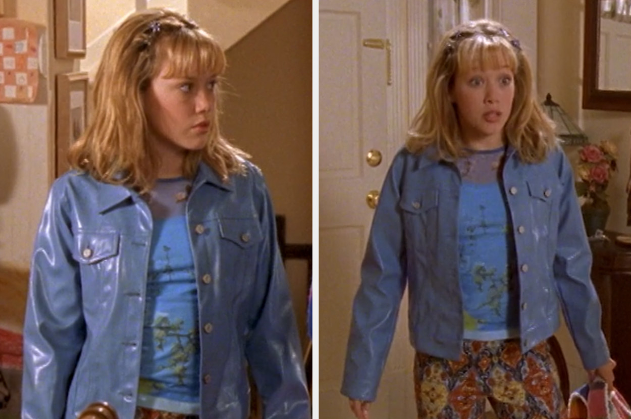 Lizzie wearing a faux leather jacket, net shirt and patterned jeans