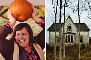 On the left, Aidy Bryant smiling and holding a pumpkin over her head in an SNL sketch, and on the right, a creepy, abandoned house with bare trees in the front