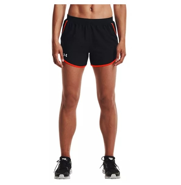 the shorts in black and red