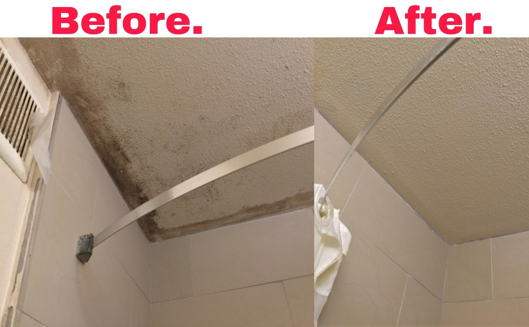 Reviewer's before and after photo of mildew on the ceiling of the bathroom