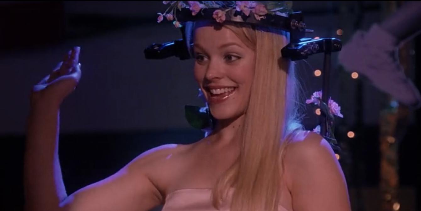Flowers adorning Regina George's head brace