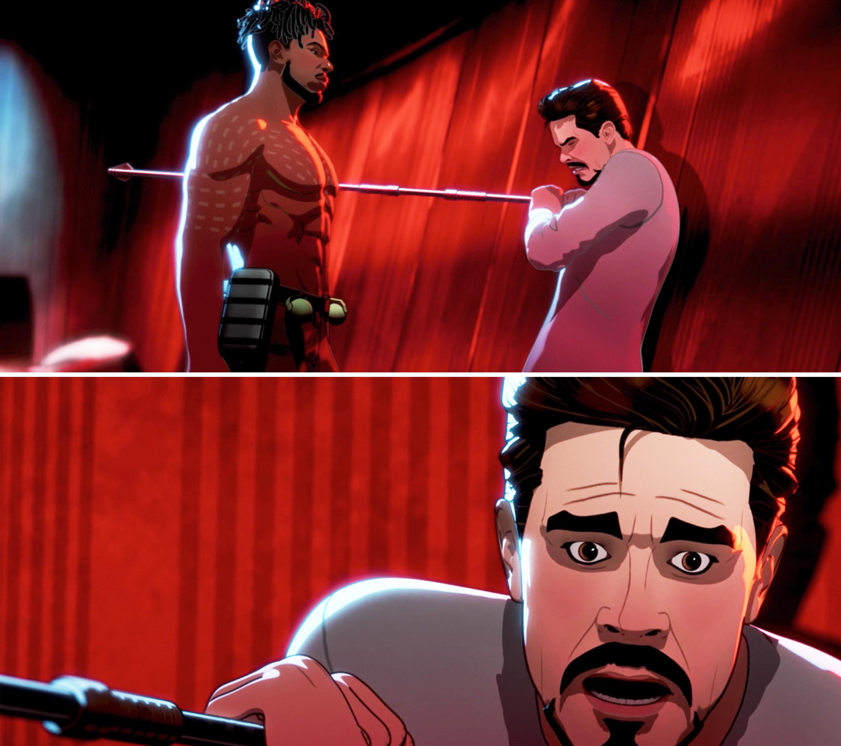 Killmonger stabbing Tony with a Dora Milaje spear