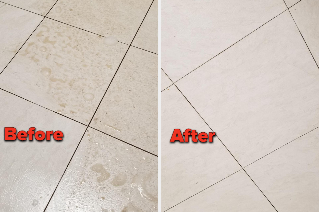 Reviewer's before and after shot of a dirty and clean floor