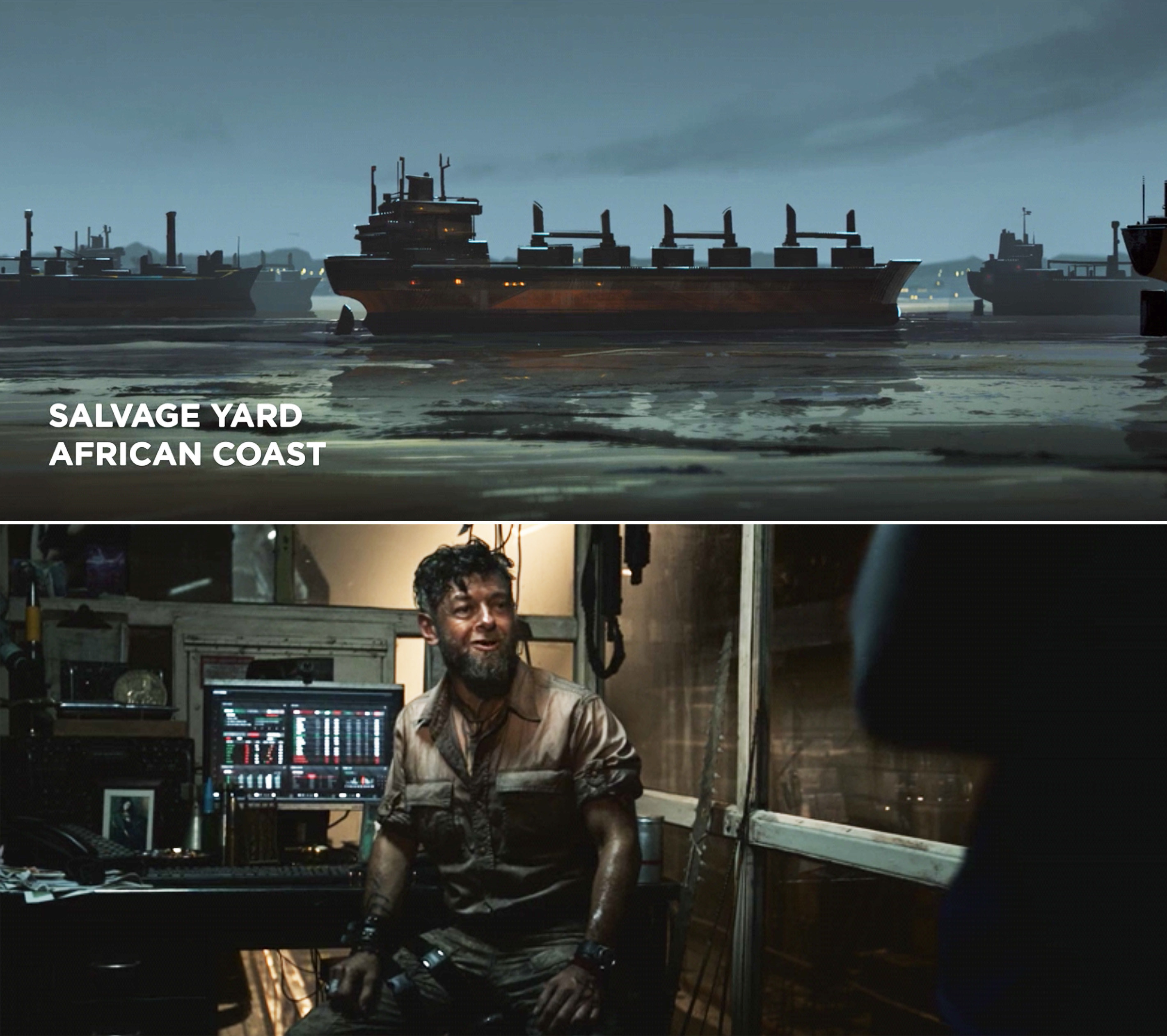 """A boat on the water with a lower third reading """"Salvage yard. African coast"""""""