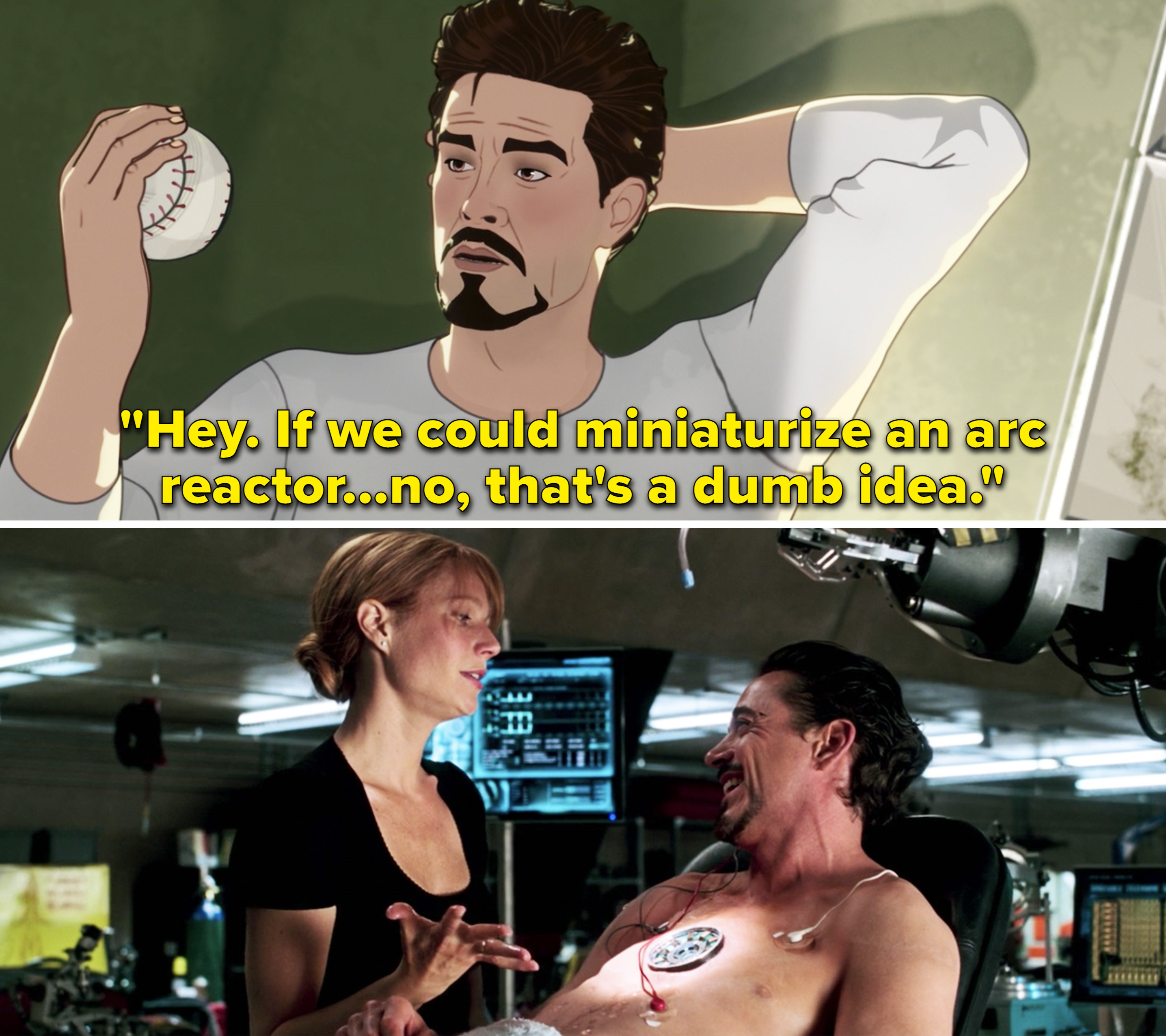 """Tony saying, """"If we could miniaturize an arc reactor. No, that's a dumb idea"""""""