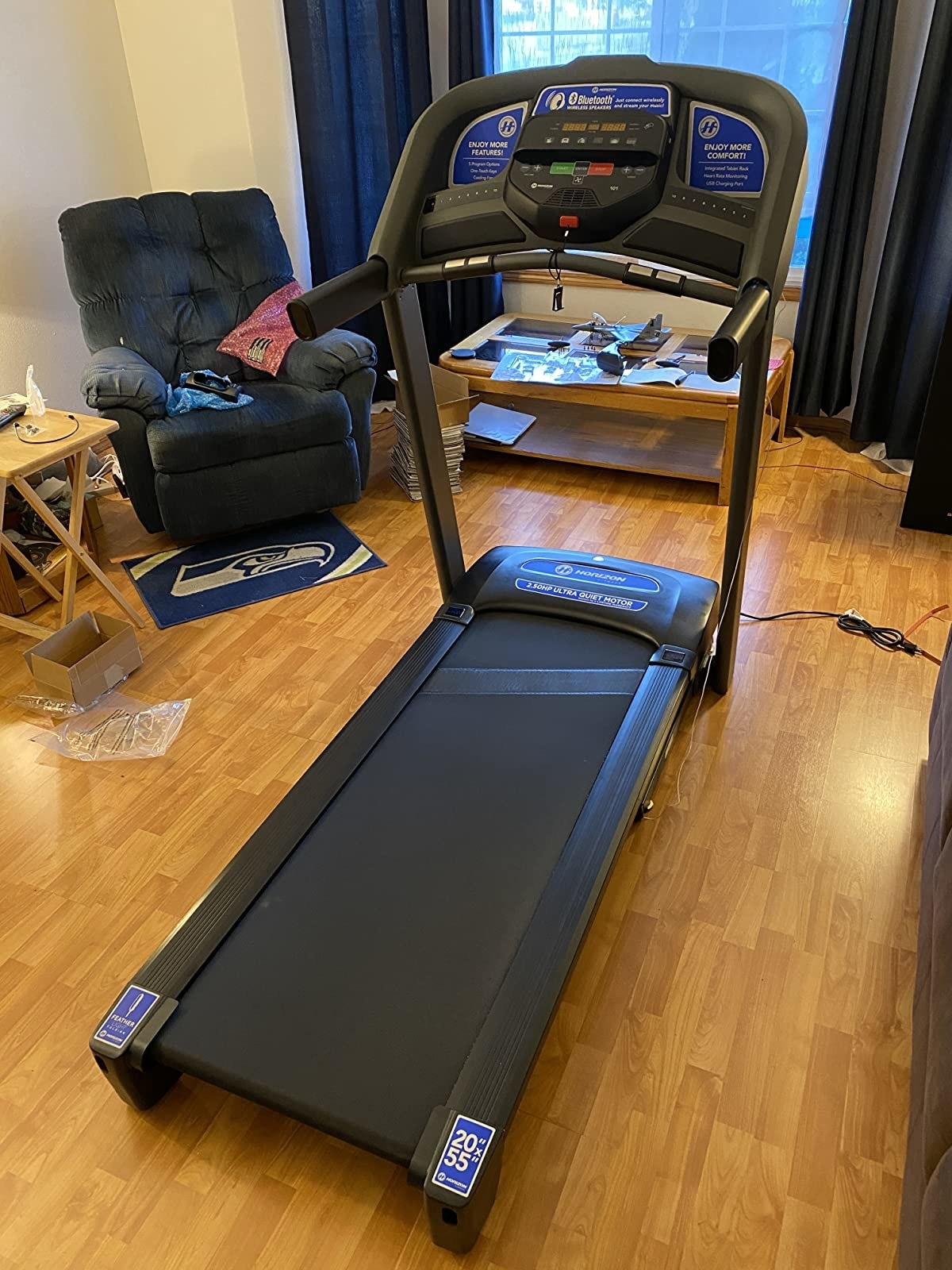 a reviewer's treadmill in their home