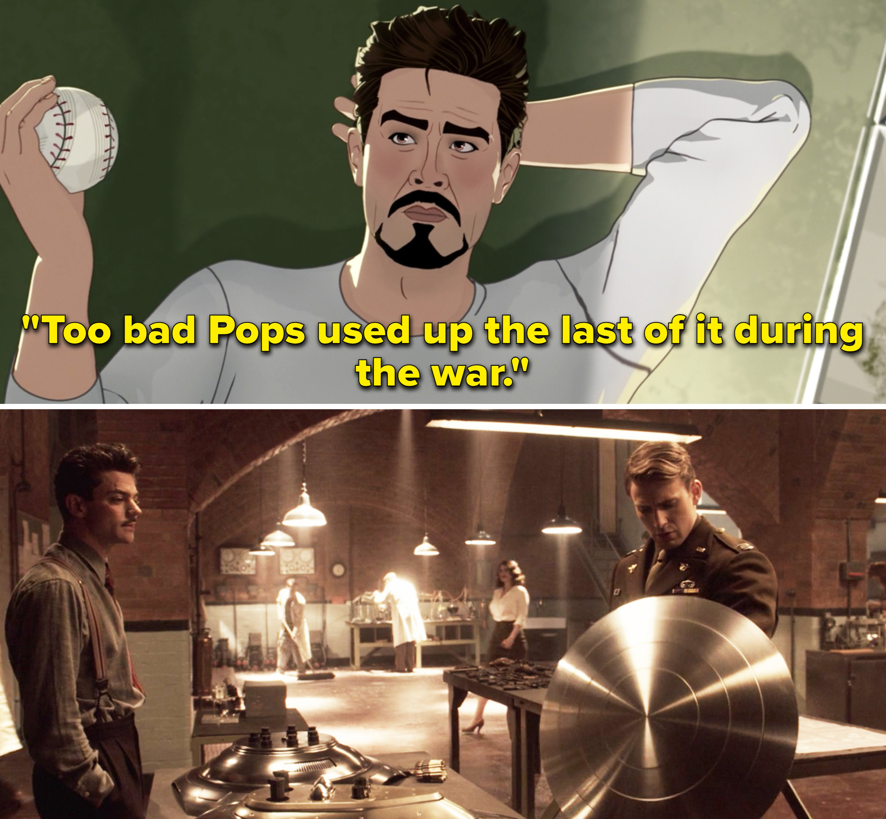"""Tony saying, """"Too bad Pops used up the last of it during the war"""""""