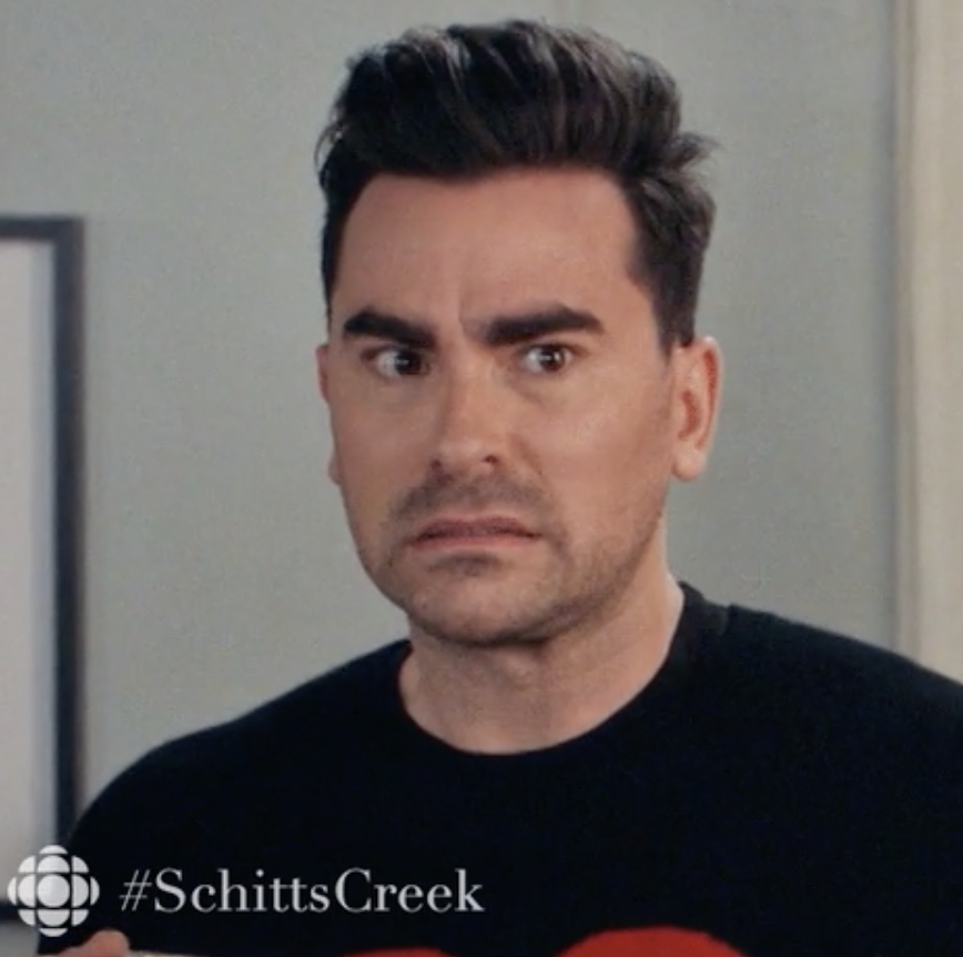 """David from """"Schitt's Creek"""" making a disgusted face"""