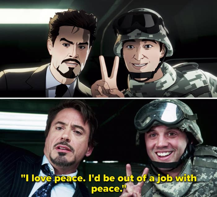 """Tony saying, """"I love peace. I'd be out of a job with peace"""""""