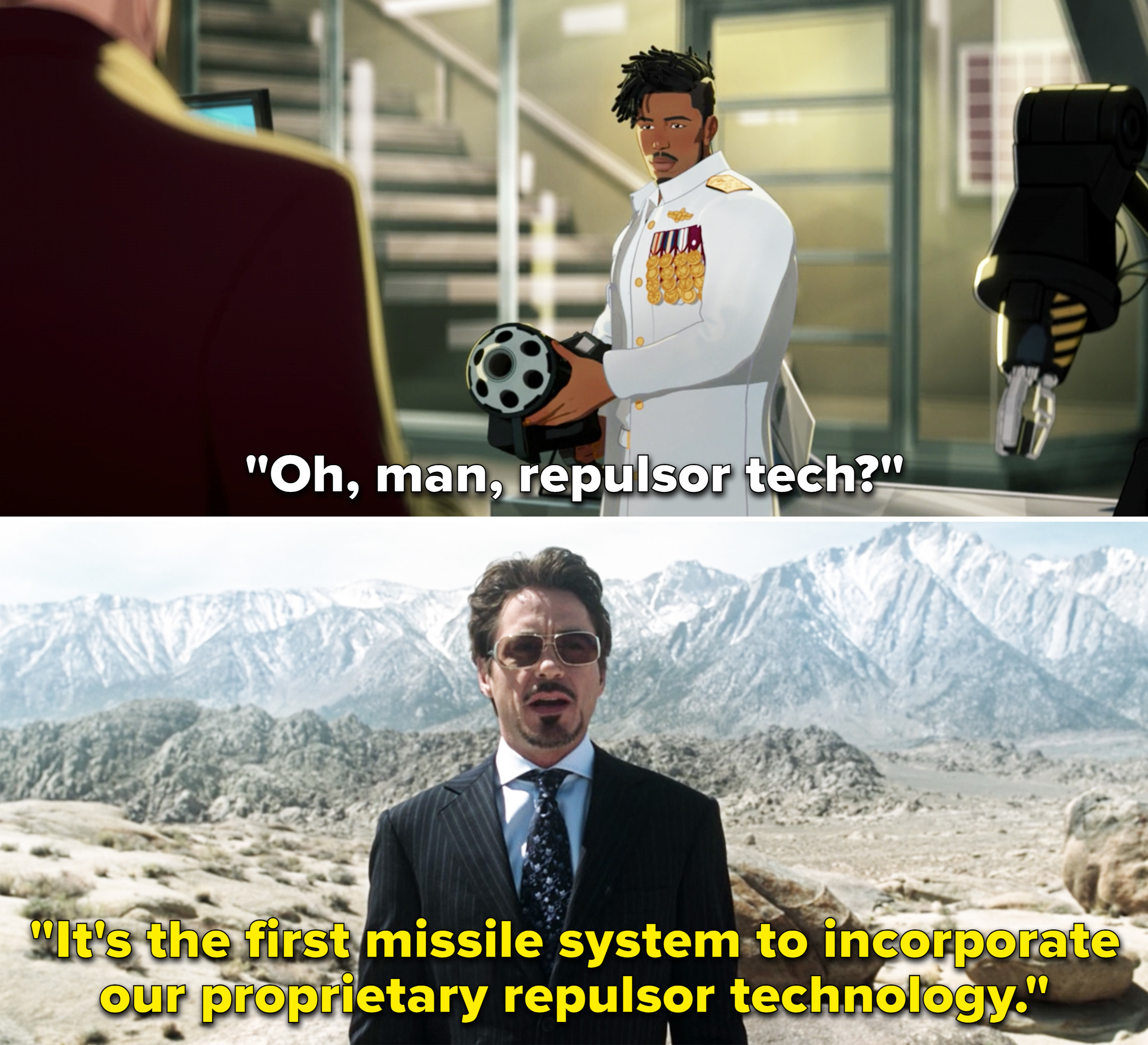 """Tony saying, """"It's the first missile system to incorporate our proprietary repulsor technology"""""""
